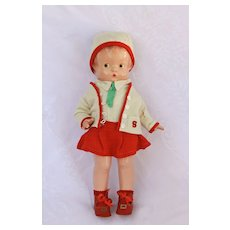 """14"""" 1930's Effanbee Patsy Composition Doll  Almost No Crazing in Glad Togs Outfit"""