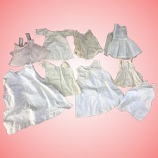 Lot of 9 Antique and Vintage Doll Slips Petticoats