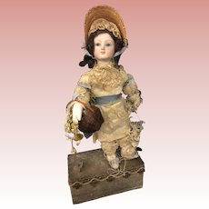 "Beautiful 12"" Automaton Bisque Doll on Base"