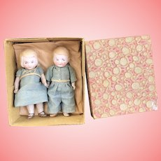 """Adorable bisque Twins 4"""" in box"""