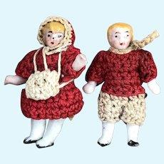 Adorable Carl Horn bisque miniature pair
