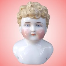 Adorable Antique China Head Boy Short Curly Hair