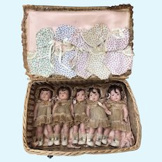Incredible Madame Alexander Dionne Quintuplet Rare Giftset no crazing