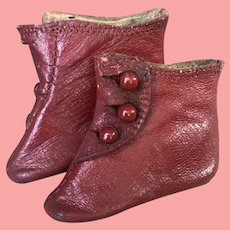 """2"""" Antique Fashion Doll Boots red leather"""