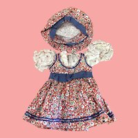 Vintage 1940's Doll dress and hat Adorable!