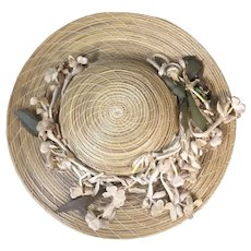 Amazing antique French Doll Straw Hat
