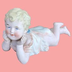 "8"" antique Heubach bisque Piano Baby"