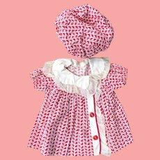 Mollye Shirley Temple Doll Schoolgirl dress and hat 1930's