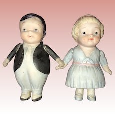 All bisque Nippon Boy and Girl Pair