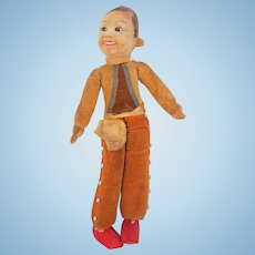 """Norah Wellings Mexican Bullfighter  Cloth Doll Tagged Glass Eyes 15"""""""