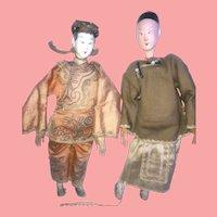 2 Chinese Opera Dolls Vintage