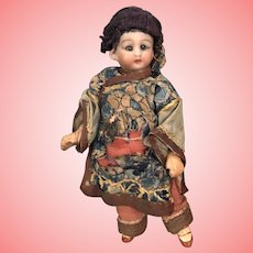 """5.5"""" Antique Bisque Doll Oriental Asian outfit and wig"""