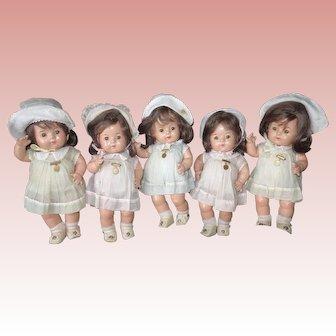 """Large 11 1/2"""" Dionne Quintuplet Madame Alexander Dolls All Original Composition"""