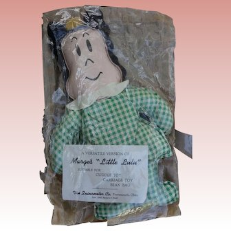 "Rare 1940's 10"" Little Lulu bean bag Doll with Paperwork  Mint"