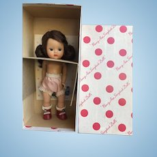 Strung Brunette Nancy Ann Muffie Doll Mint in Box with Center Snap Shoes