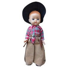 Rare Nancy Ann Storybook Doll Muffie Cowboy All Original 1950's