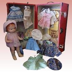"Beautiful Patsy in Rare Marked Trunk with Wardrobe Effanbee 14"""