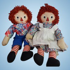 Georgene Beautiful Outline Nose Raggedy Ann and Andy Pair Near Mint!!