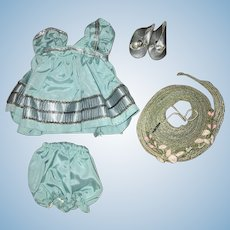 Beautiful Strung Ginny Doll Tagged Outfit with Silver Center Snap Shoes