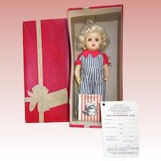 Platinum Tiny Terri Lee Doll in Original Box, Wrist Tag 1950's