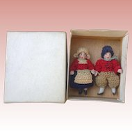 Antique Tiny Bisque Carl Horn doll Pair Mint in Box Germany