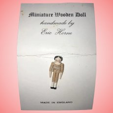 "Eric Horne Miniature 1"" Peg Wooden Doll"