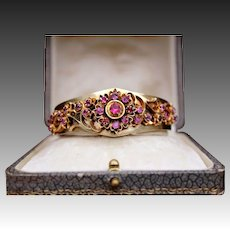 Antique Victorian 800 Silver Gilt Natural Pink Ruby's Ornate Flower Motif Hinged bangle Bracelet