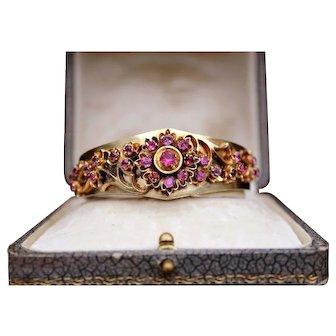 Antique Victorian 800 Silver Gilt Natural Pink Ruby's Ornate Flower Motif Hinged bangle Bracelet