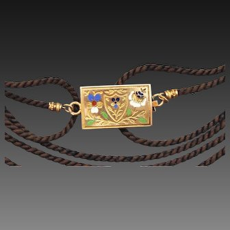 Antique Georgian, French Provincial Hallmarked 18 K Gold Double sided Enamel Forget me Not Pansy & Shield Motif Long Hair work Necklace