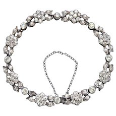 Fabulous Antique Georgian period Sparkling French Hallmarked 800 Silver Foiled back Paste Forget me not Flower Bracelet