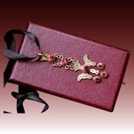 Fabulous Antique late Georgian , French Provincial Solid 18 K Gold & Enamel foiled back pink topaz and garnet Dove Saint Esprit Pendant