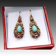 Beautiful Dainty Antique Georgian 18 K Gold Pear shaped Turquoise Cabochon & Foiled back Pinkish/ Red Garnet  Earrings