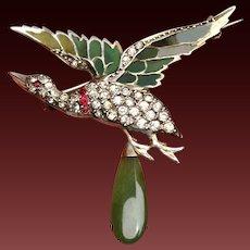 Fabulous Rare Large French Antique Art- Nouveau Circa 1895 -1910 Hallmarked 800 Silver gilt Plique a Jour Paste & Jade drop brooch.