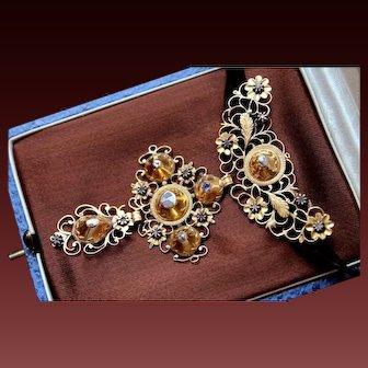 Rare & Fabulous Large Antique Georgian circa 1770 Solid 18 k Rose Gold three-tiered Foiled back Rose Cut Diamond Cross Pendant