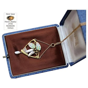 Rare Antique Art-Nouveau Signed, Maison Vever Stunning French Circa 1896 Plique a Jour 18 k Gold pendant and chain.