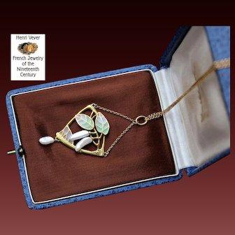 Rare Antique Art-Nouveau Signed, Maison Vever Stunning French Circa 1896 Plique a Jour 18 k Gold pendant.