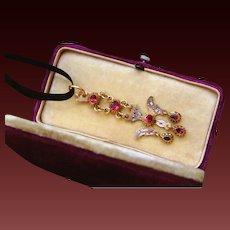 Fabulous Antique Georgian French Provincial 18 K Gold foiled back pink topaz & enamel Dove Saint Esprit Pendant