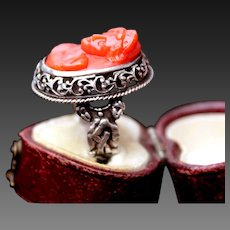 Fabulous Antique Georgian Large Hand Carved Natural Mediterranean  Deep Red Coral Cameo 800 Silver Ring