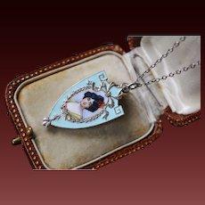 Stunning Antique Art-Nouveau,German Jugendstil or Austrian Secessionist 800 Silver Enamel Hand Painted Enamel Portrait Slide Photo Locket Pendant.