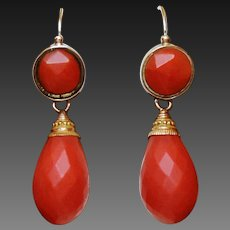 """Rare Antique Georgian Fabulous French """" Empire"""" period Large Natural Faceted Mediterranean Red Coral Day to Night 18 K & 14 K Earrings"""