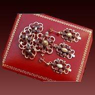 Fabulous Italian Antique Georgian 18 th Century 14 k Gold Flat Cut Foiled back Garnets & Natural Pearls Pendant/Brooch & Earrings set