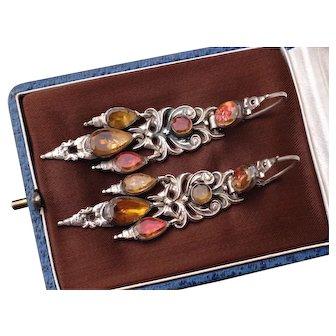 Long Magnificent Antique Georgian Circa 1780 Iberian ( Spanish) 800 Silver foiled Back Flat Cut Topaz Paste Girandole Drop Earrings.