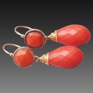 """Rare Fabulous Large Antique Georgian French """" Empire"""" Circa 1800 , Natural faceted Mediterranean Red Coral Day to Night Gold Earrings"""