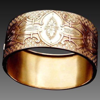 Fabulous Antique Victorian Rose & Yellow 9 K Gold Wide Bangle Bracelet with Elaborate fancy Engravings & Raised pattern Design