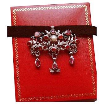 Fabulous Antique Georgian period 18 Th Century Sterling Silver & Gold Gilt Girandole Foiled back Flat Cut Fire Red Garnet Pendant