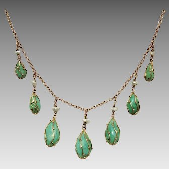 Fabulous Antique Arts & crafts or Art-Nouveau period Circa 1890-1910 9 k Gold Fringe Caged Jade Necklace attributed to Murrle Bennett