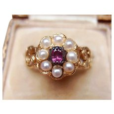 Gorgeous Antique Georgian 22 k Gold Ornate Sentimental Forget me Not Natural Pearls & Purple Sapphire Ring