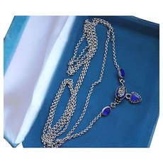 Fabulous Antique Georgian Royal Blue Enamel and Pyrite Sentimental Forget me Not Sterling Silver Necklace