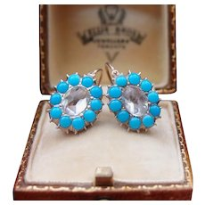 Rare Antique Georgian 18 th Century French Regional 18 k Gold & Silver Foiled Back Dutch Rose Cut & Turquoise paste Earrings Boxed
