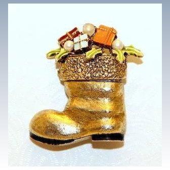 Signed ART Santas Boot Stocking Pin/Brooch, Christmas ~ Collectors BOOK PIECE
